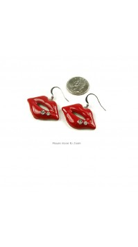 Red Lip Earrings