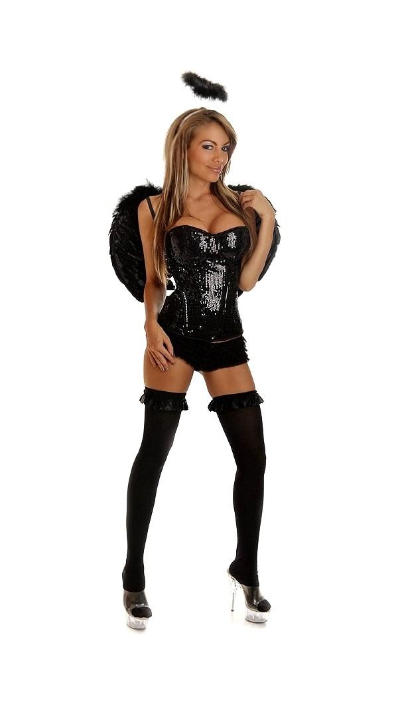 Sexy sequin dark angel costume includes underwire strapless corset