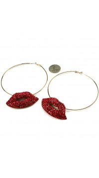 Red Kiss Hoop Earrings