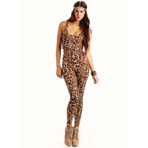 Strappy Elastic Leopard Catsuit