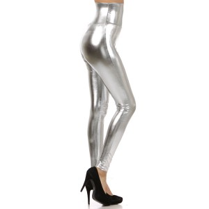 High Waisted Metallic Leggings