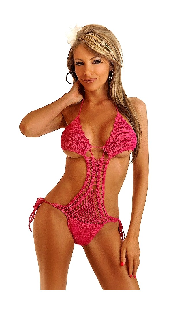 Red Side Tie Crochet O Ring Monokini
