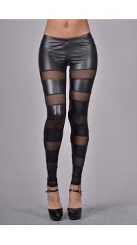 Leather & Mesh Leggings