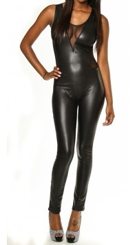 Leather Mesh Insert Catsuit