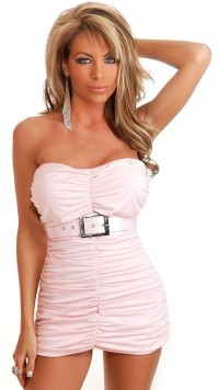 Ruched Belted Mini Dress
