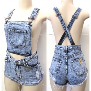 High Waist Overall Shorts - Status Runway