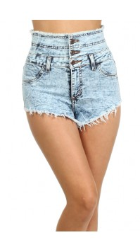 Acid Denim High Waisted Shorts