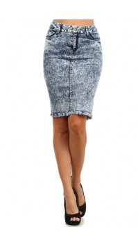 Denim Acid Wash Skirt