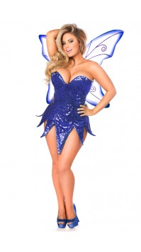 Blue Sequin Fairy Corset Costume